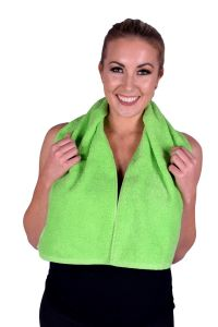 Towel 077 Lime Green Terry Cotton Gym & Fitness Towel (6 PACK)