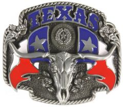 Texas Flag Bull Belt Buckle ( BU 001)