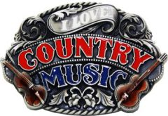 MUS 028 Country Music Guitar Belt Buckle
