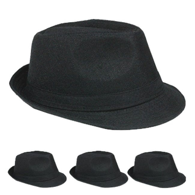 Crushable Adult Black Casual Trilby Fedora Hat (018)