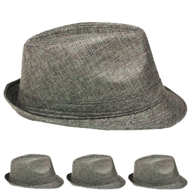 Dim Gray Adult Beach Party Trilby Fedora Hat (016)