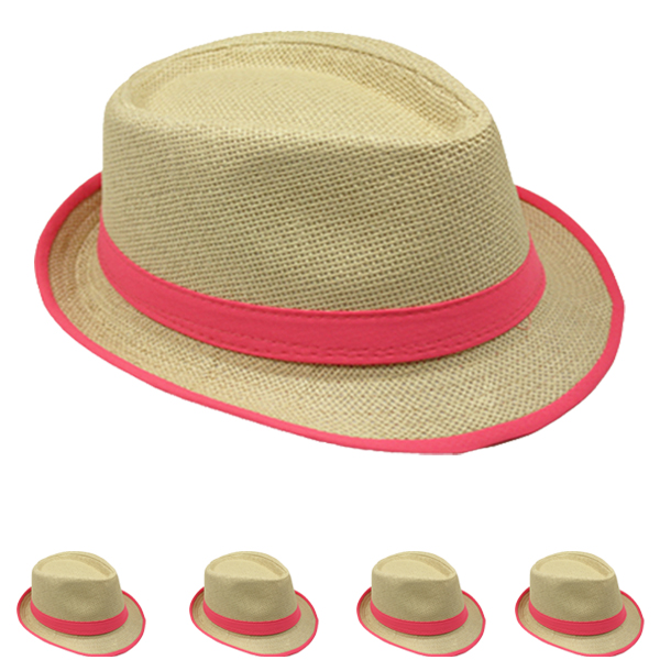 Adult Trilby Straw Fedora Hat with Neon Pink Band (053)