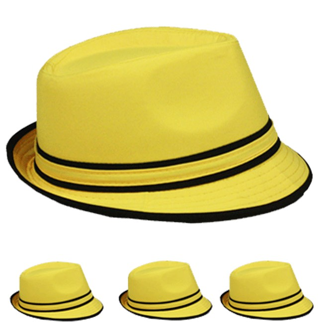 Yellow Adult Beach Party Trilby Fedora Hat (001)