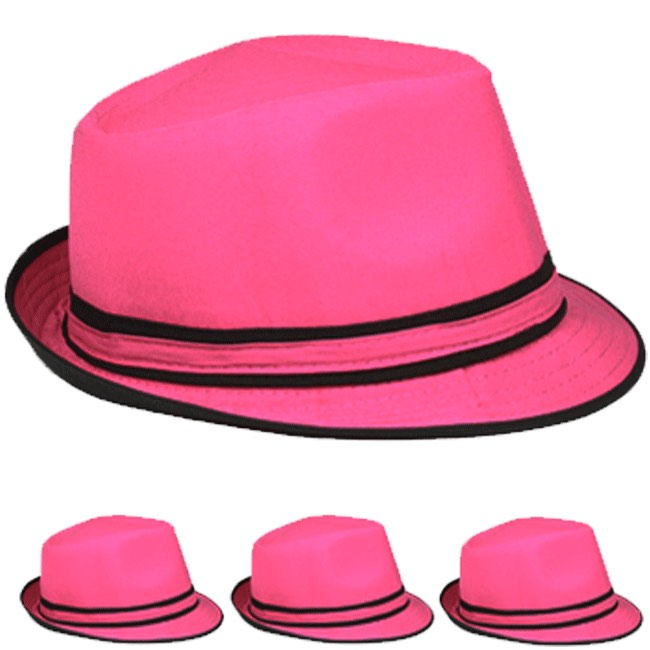 Hot Pink Adult Beach Party Trilby Fedora Hat (002)
