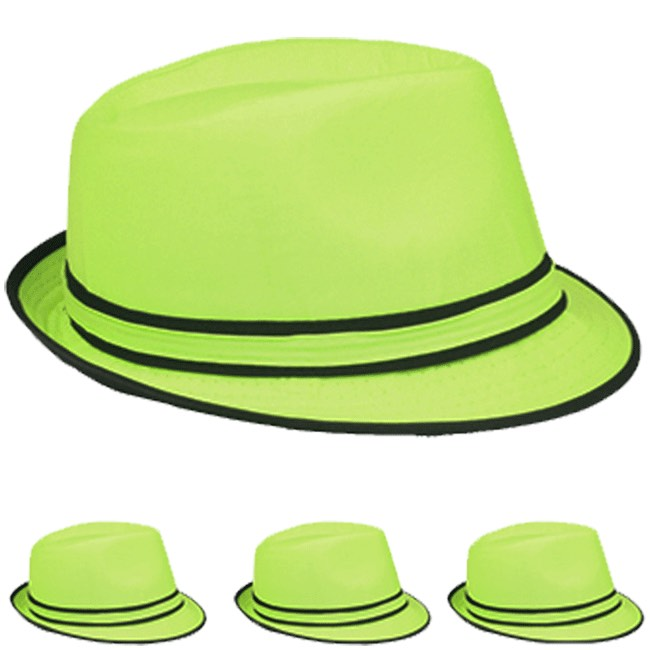 Neon Green Adult Beach Party Trilby Fedora Hat (004)