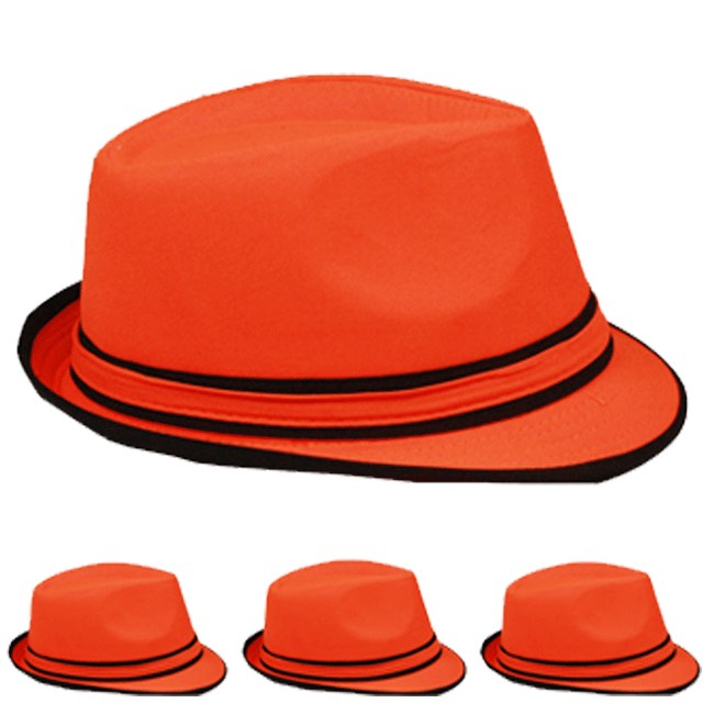 Neon Orange Adult Beach Party Trilby Fedora Hat (005)