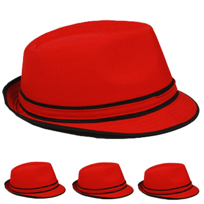 Red Adult Beach Party Trilby Fedora Hat (006)