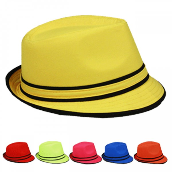 Adult Beach Party Mix Color Trilby Fedora Hat Set (0007)