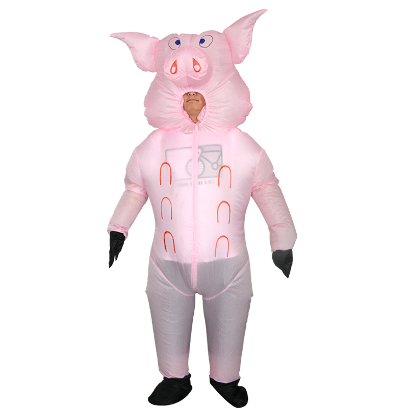 Pink Pig Inflatable Costume Blow Up Costume for Halloween Cosplay Party (103)