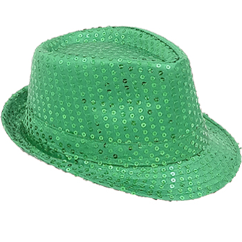 Sparkling Green Sequin Trilby Fedora Party Hat (064)