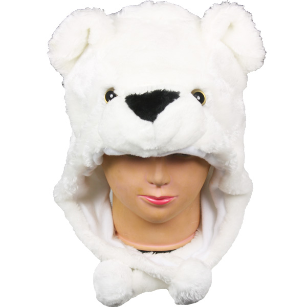 Soft Plush Polar Bear Animal Character Earmuff Hats (051)