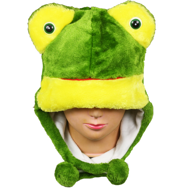 Soft Plush Frog Shape Animal Hats with Earmuff (0021)