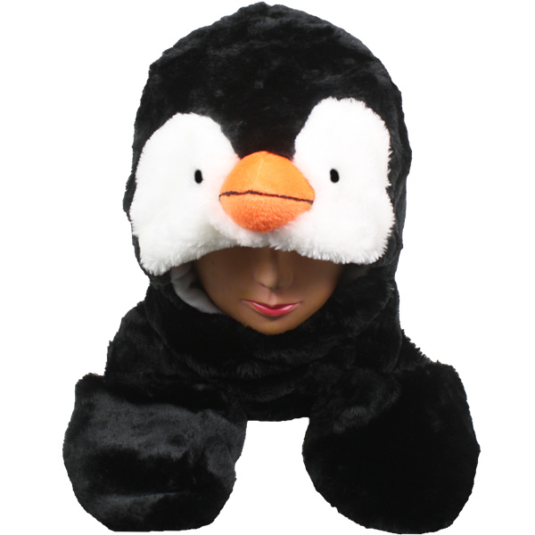 Plush Penguin Animal Hats with Paws Mittens (018)