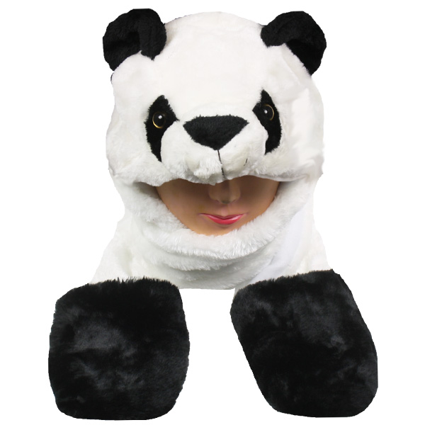 Soft Plush Panda Animal Character Builtin Paws Mitten Hats (056)