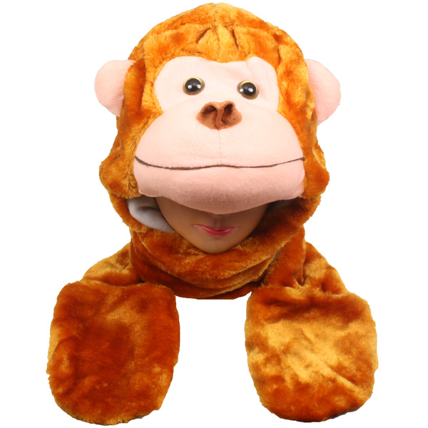 Plush Monkey Shape Animal Hats with Paws Gloves (010)