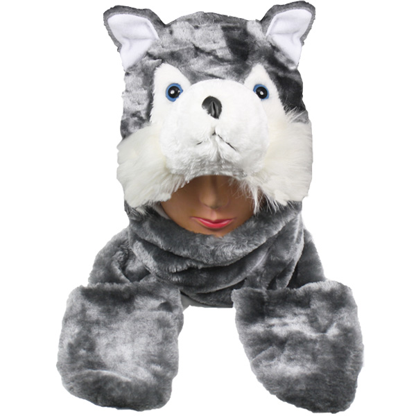 Soft Plush Cat Animal Character Builtin Paws Mitten Hats (0058)