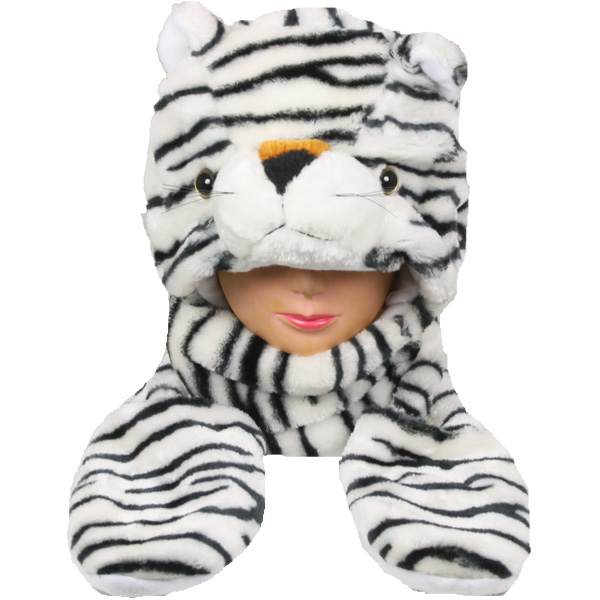 Soft Plush White Tiger Animal Builtin Paws Mittens Hat (034)