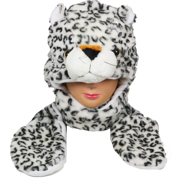 Polar Fleece White Panther Animal Hat with Paws Gloves (008)