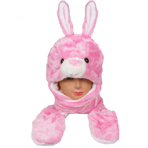 Soft Plush Pink Rabbit Animal Character Builtin Paws Mittens Hat (0036)