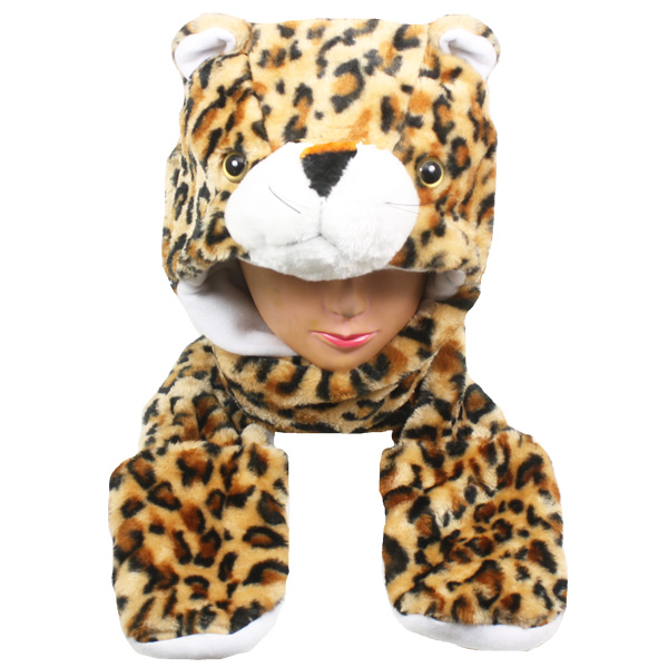 Polar Fleece Leopard Animal Hats with Paws Mitten (016)