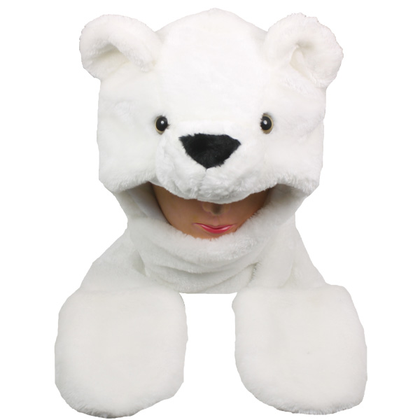 Soft Plush Polar Bear Animal Character Builtin Paws Mittens Hat (0052)