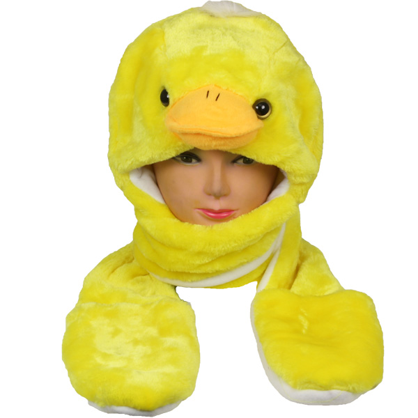 Soft Plush Duck Animal Character Builtin Paws Mittens Hat (006)