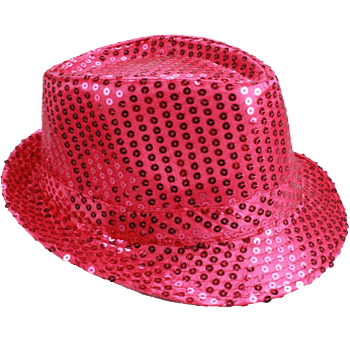 Sparkling Pink Sequin Trilby Fedora Party Hat (062)