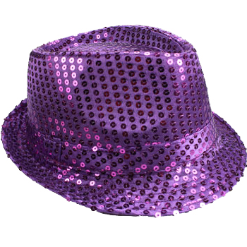Sparkling Purple Sequin Trilby Fedora Party Hat (069)