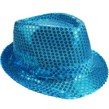 Sparkling Turquoise Blue Sequin Trilby Fedora Party Hat (066)