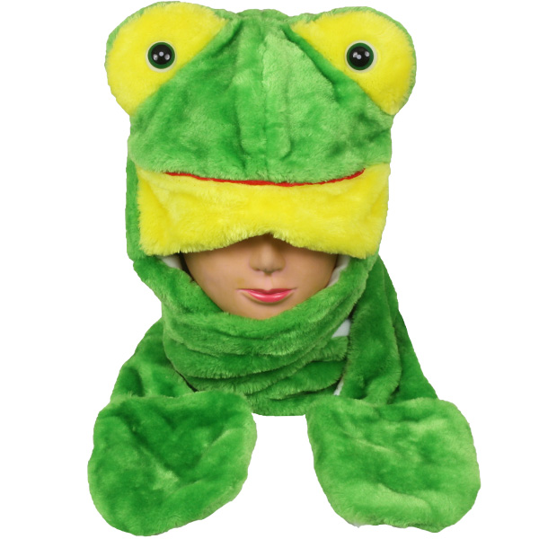 Soft Plush Frog Shape Animal Hats with Paws Mitten (022)