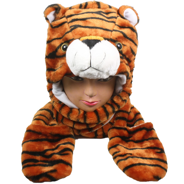 Soft Plush Tiger Animal Character Builtin Paws Mittens Hat (0054)