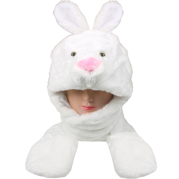 Cute Bunny Animal Character Builtin Paws Mitten Hat (074)