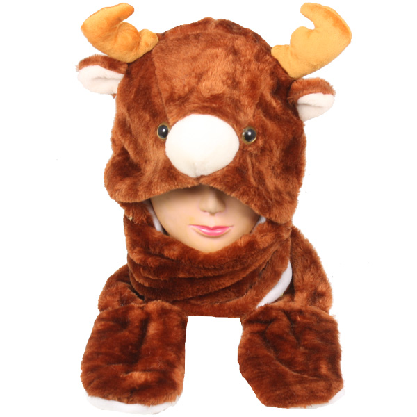 Plush Reindeer Animal Hats with Paws Mittens (0012)