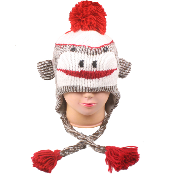 Pompom Animal Character Knitted Beanie Hat (401)