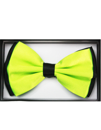 BOWTIE 034 Black & Lime Green Two Tone Adult Bowtie