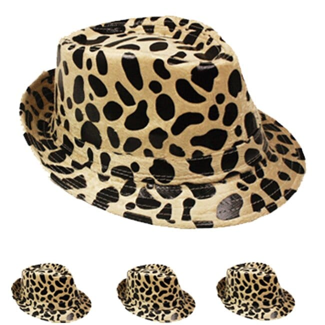 Leopard Print Brown Adult Trilby Fedora Party Hat (054)