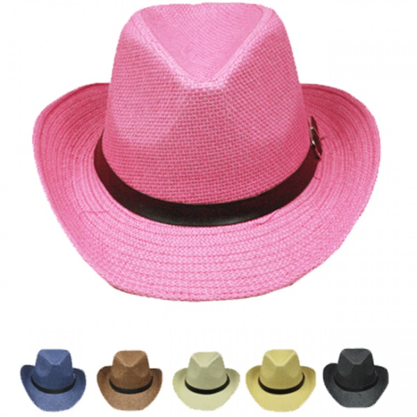 Paper Straw Banded Unisex Western Cowboy Hat Set (007)