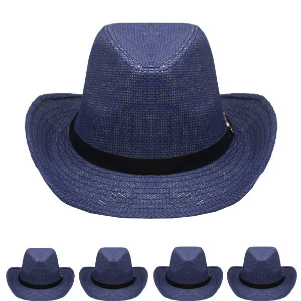 Blue Paper Straw Banded Unisex Western Cowboy Hat (005)