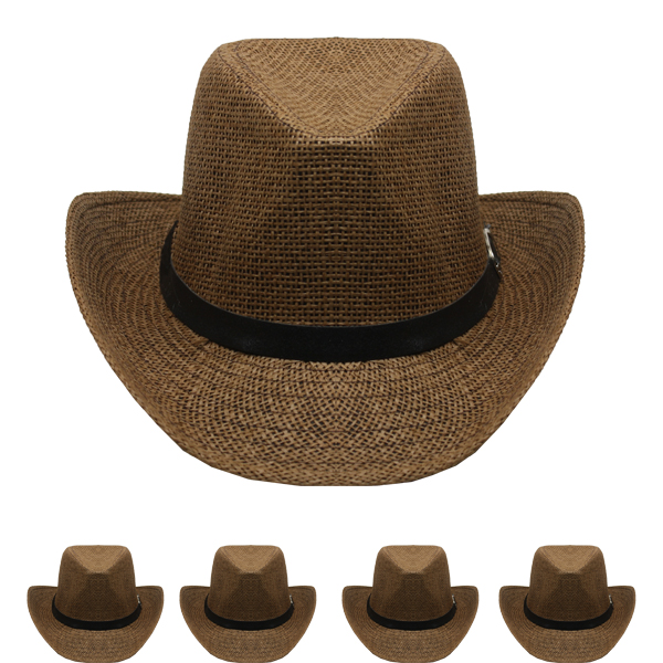 Brown Paper Straw Banded Unisex Western Cowboy Hat (004)