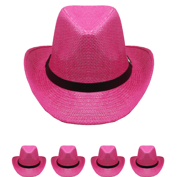 Exotic Pink Color Paper Straw Western Cowboy Hat (001)