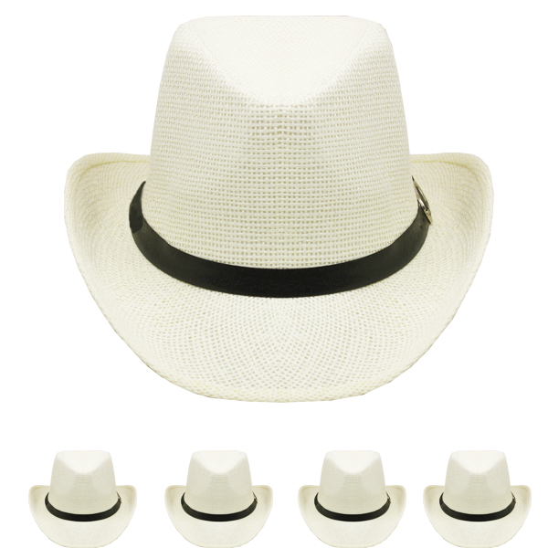 White Paper Straw Banded Unisex Western Cowboy Hat (003)