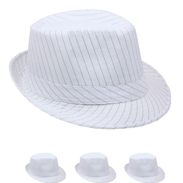 Black Pinstripes White 1920s Gangster Fedora Hat (024)