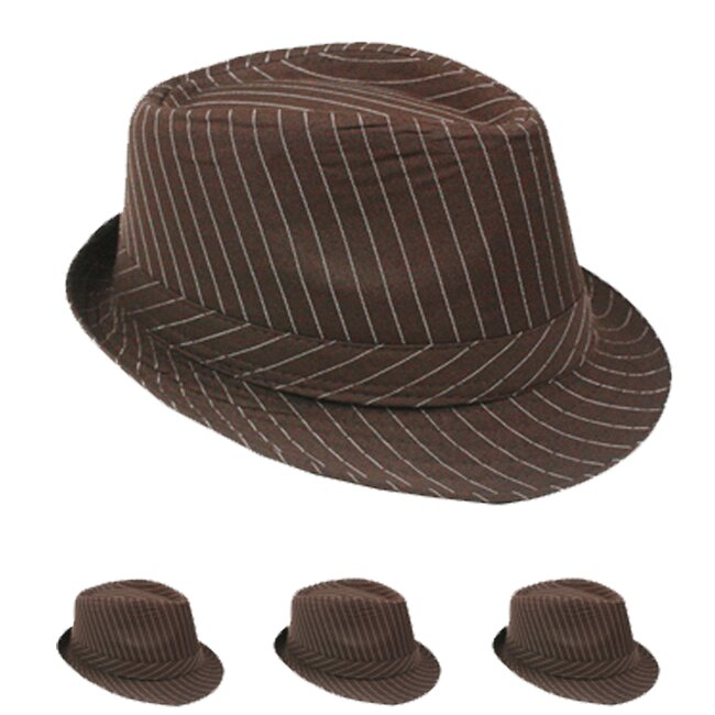 White Pinstripes Brown 1920s Gangster Fedora Hat (022)
