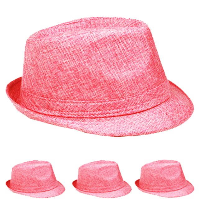 Trending Pink Beach Party Adult Trilby Fedora Hat (013)