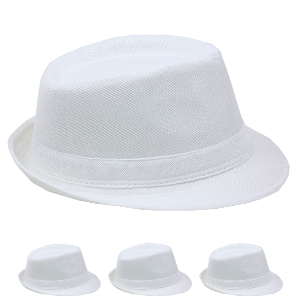 White Adult Beach Party Trilby Fedora Hat (011)