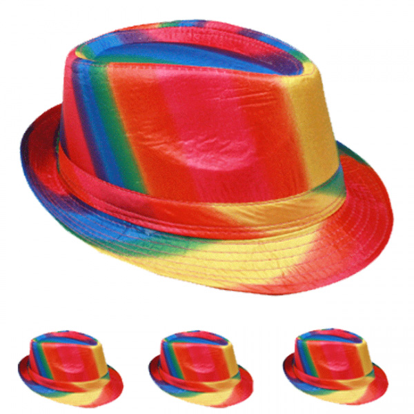 Adult Beach Party Rainbow Trilby Fedora Hat (060)