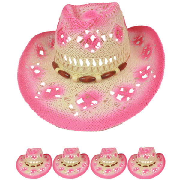 Hollow Breathable Pink Shade Beaded Band Cowboy Hat (010)