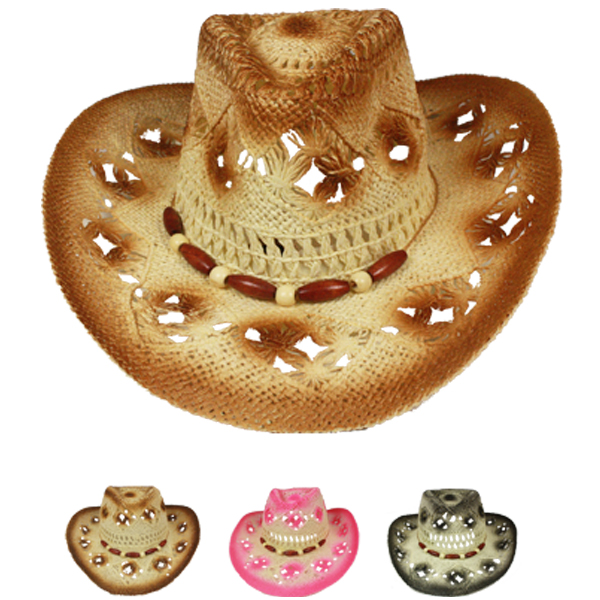 Hollow Breathable Beaded Band Cowboy Hat Set Mix Color (012)