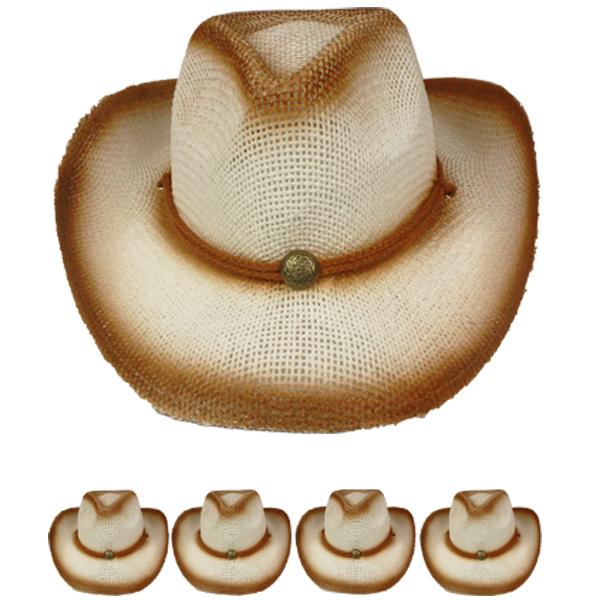 Paper Straw Brown Shade Western Cowboy Hat (015)