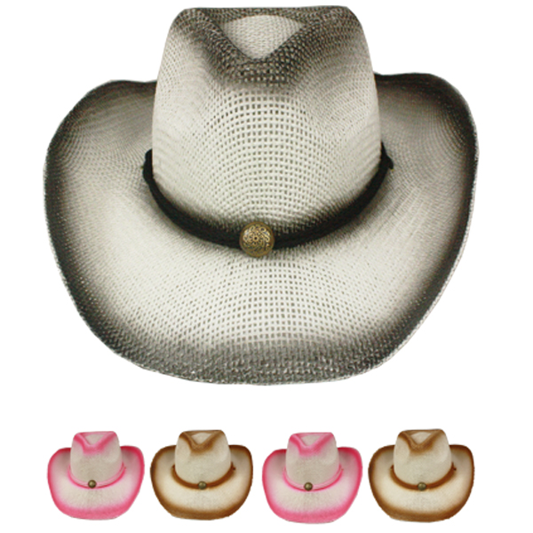 Paper Straw Shade Western Cowboy Hat Set Mix Color (016)